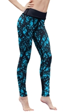 Womens High Waist Digital Printed Yoga Sports Leggings Turquoise