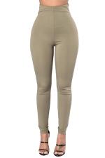 Womens Plain Ankle Length Zipper High Waist Leggings Army Green
