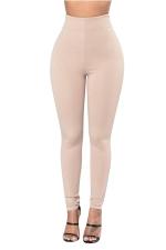 Womens Plain Ankle Length Zipper High Waist Leggings Khaki