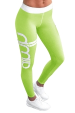 Womens Color Block Letter Printed Ankle Length Leggings Green