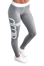 Womens Color Block Letter Printed Ankle Length Leggings Gray
