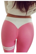 Womens Color Block Letter Printed Ankle Length Leggings Pink