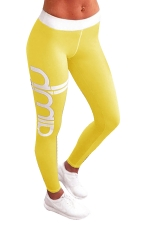 Womens Color Block Letter Printed Ankle Length Leggings Yellow