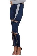 Womens Faux Suede Keyhole Cross Lace-up High Waist Leggings Navy Blue