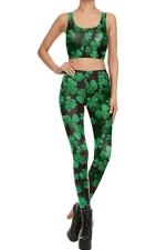 Womens Clover Printed Tank Top&High Waist Sports Pants Suit Green