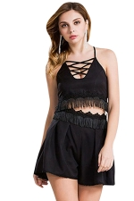 Womens Cross Cutout Lace Trim Tassel Top&Shorts Suit Black