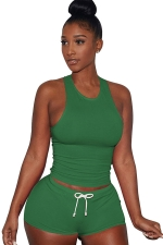 Womens Plain Tank Top Drawstring Waist Shorts Sports Suit Green
