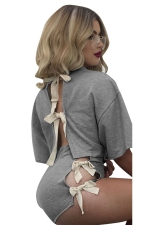 Womens Crewneck Lace Up Crop Top&High Waist Shorts Suit Gray