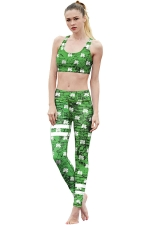 Womens Clover Printed Racer Back Crop Top&Sports Pants Suit Green