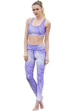 Womens Striped Racer Back Crop Top&Sports Pants Suit Light Purple