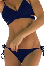 Womens Sexy Bikini Push Up Halter Top&String Swimsuit Bottom Navy Blue