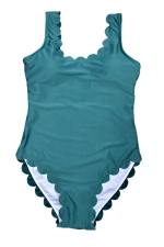Womens Scalloped Trim Plain Classic One Piece Swimsuit Green