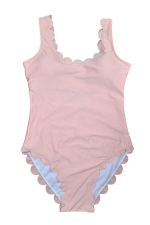 Womens Scalloped Trim Plain Classic One Piece Swimsuit Pink