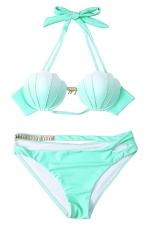 Womens Halter Gradient Shell Cut Out 2PCS Bikini Suit Green