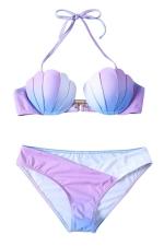 Womens Halter Gradient Shell 2PCS Bikini Suit Purple