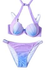 Womens Halter Gradient Shell Double-string 2PCS Bikini Suit Pink