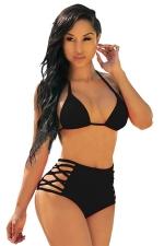 Womens Triangle Halter High Waist Cutout 2PCS Bikini Set Black