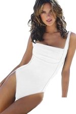 Womens Draped Plain Cutout Back One Piece Swimsuit White