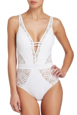 Womens Low Cut Lace Hollow Out Plain One Piece Swimsuit White