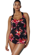 Womens Plus Size Floral Printed Halter One Piece Swimsuit Black