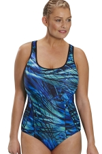 Womens Plus Size Cross Bandage Back Printed One Piece Swimsuit Blue