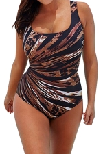 Womens Leopard Plus Size Cross Cutout Back One Piece Swimsuit Brown