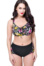 Womens Plus Size 2PCS Floral Printed High Waist Bikini Set Black