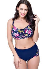Womens Plus Size 2PCS Floral Printed High Waist Bikini Set Navy Blue