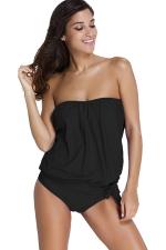 Womens Strapless Bandeau 2PCS Lace-up Side Tankini Swimsuit Black