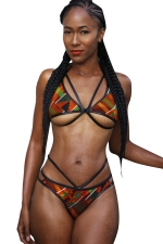 Womens Sexy Bandage Geometric Printed Bikini Set Orange