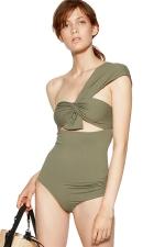 Womens One Shoulder Plain Bow One Piece Swimwear Army Green
