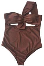 Womens One Shoulder Plain Bow One Piece Swimwear Brown