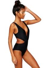 Womens Sexy Deep V-neck Hollow Out Waist One-piece Swimwear Black
