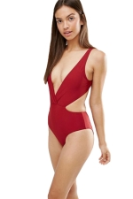Womens Sexy Deep V-neck Hollow Out Waist One Piece Swimwear Red