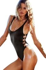 Womens Sexy Bandage One Piece Swimwear Black
