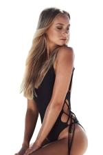 Womens Sexy V-neck Bandage Backless One Piece Swimwear Black
