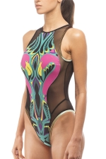 Womens Printed Mesh Patchwork Zipper One Piece Swimsuit Black