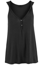 Womens V Neck Buttons Plain Loose Tank Top Black