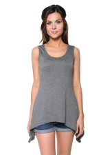 Womens Round Neck Asymmetric Hem Plain Tank Top Gray