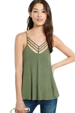 Womens Strappy V Neck Back Side Slit Plain Camisole Top Army Green