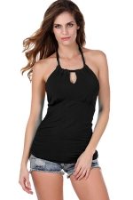 Womens Halter Backless Keyhole Strapless Plain Top Black