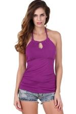 Womens Halter Backless Keyhole Strapless Plain Top Purple