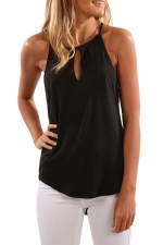 Womens Round Neck Cutout High Low Plain Camisole Top Black