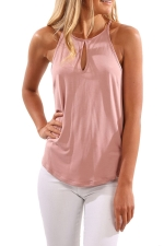 Womens Round Neck Cutout High Low Plain Camisole Top Pink