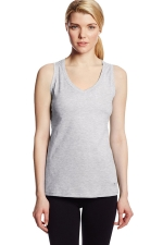 Womens V Neck Sleeveless Solid Color Tank Top Light Gray