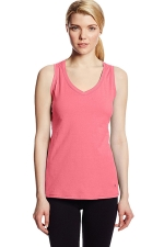 Womens V Neck Sleeveless Solid Color Tank Top Pink
