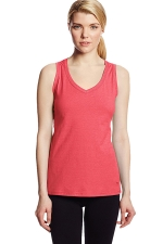 Womens V Neck Sleeveless Solid Color Tank Top Watermelon Red