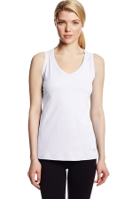 Womens V Neck Sleeveless Solid Color Tank Top White