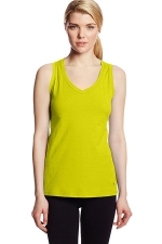 Womens V Neck Sleeveless Solid Color Tank Top Yellow