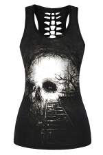 Womens Hollow Out Racer Back Rail Printed Tank Top Black